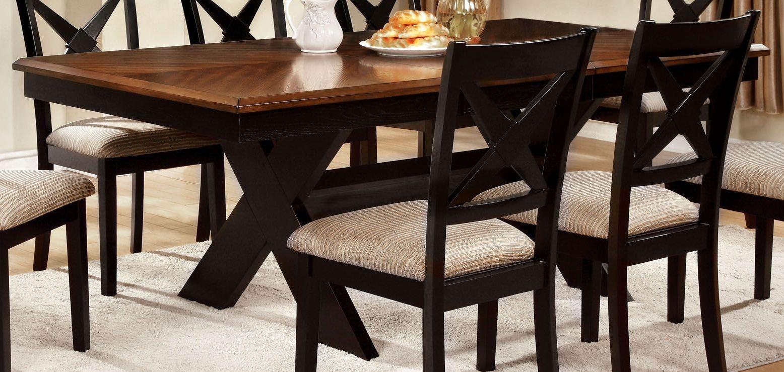 Liberta dark oak rectangular trestle dining table from for Dark oak dining table