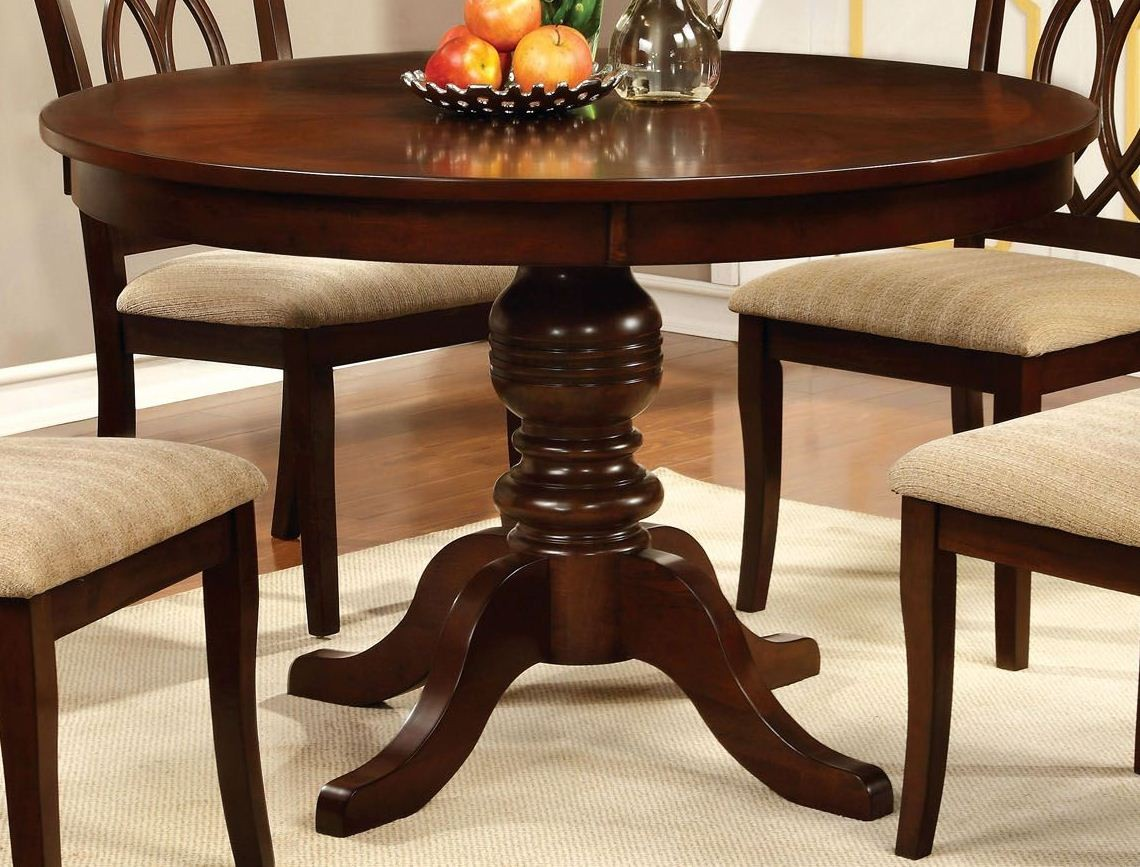 carlisle brown cherry round pedestal dining room set from furniture of america cm3778rt table. Black Bedroom Furniture Sets. Home Design Ideas