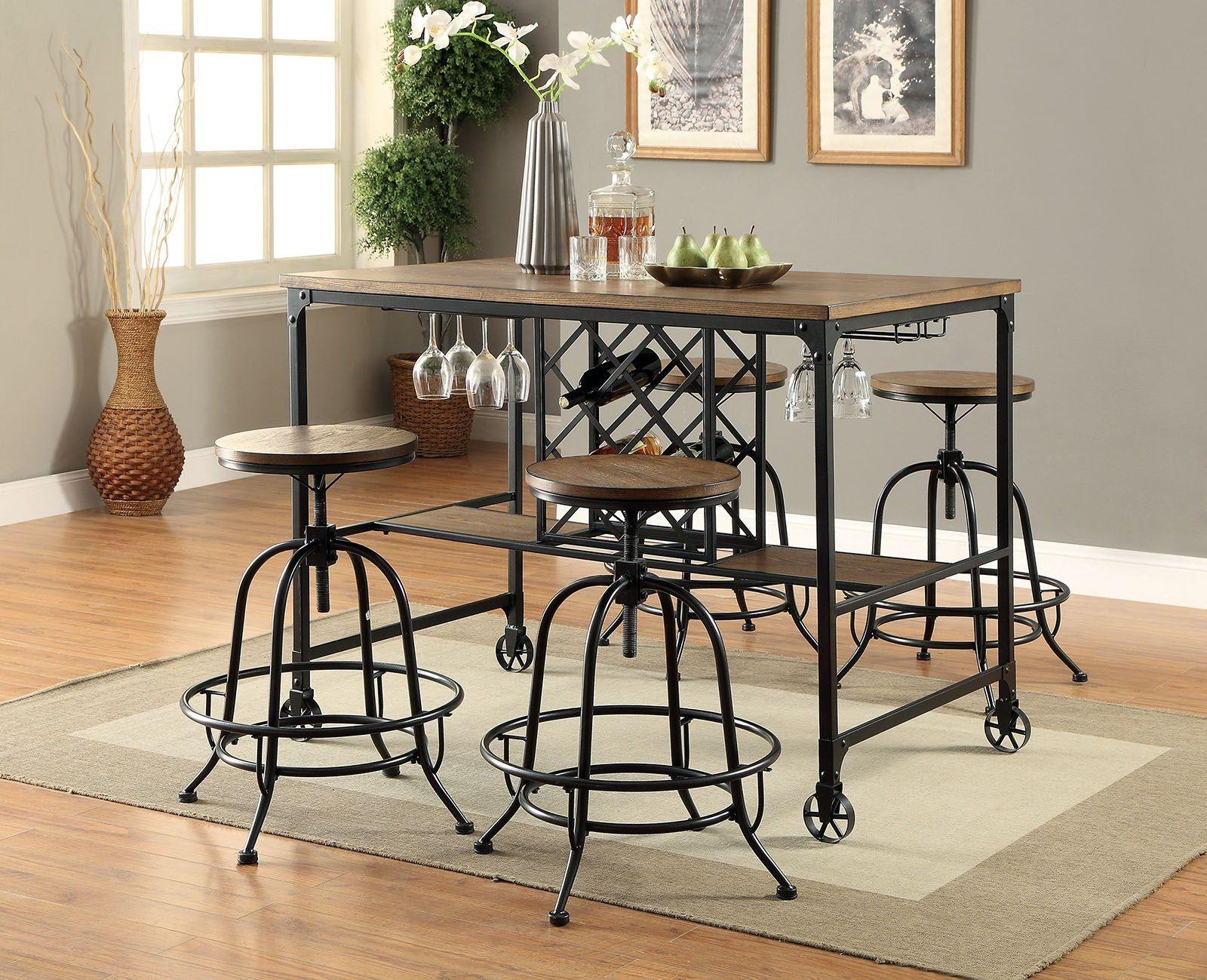 silvia i medium oak counter height dining room set cm3803pt furniture of america. Black Bedroom Furniture Sets. Home Design Ideas