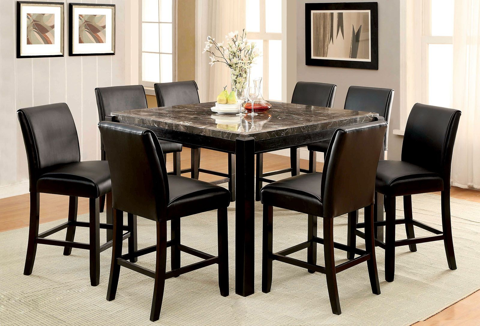 Gladstone I Gray Marble Top Counter Height Dining Room Set