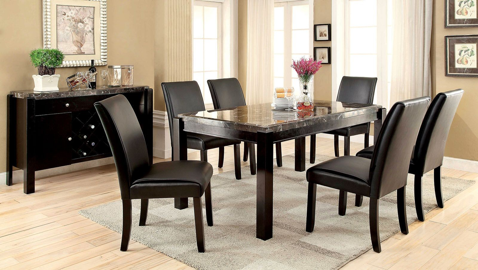 gladstone i gray marble top dining room set cm3823bk t