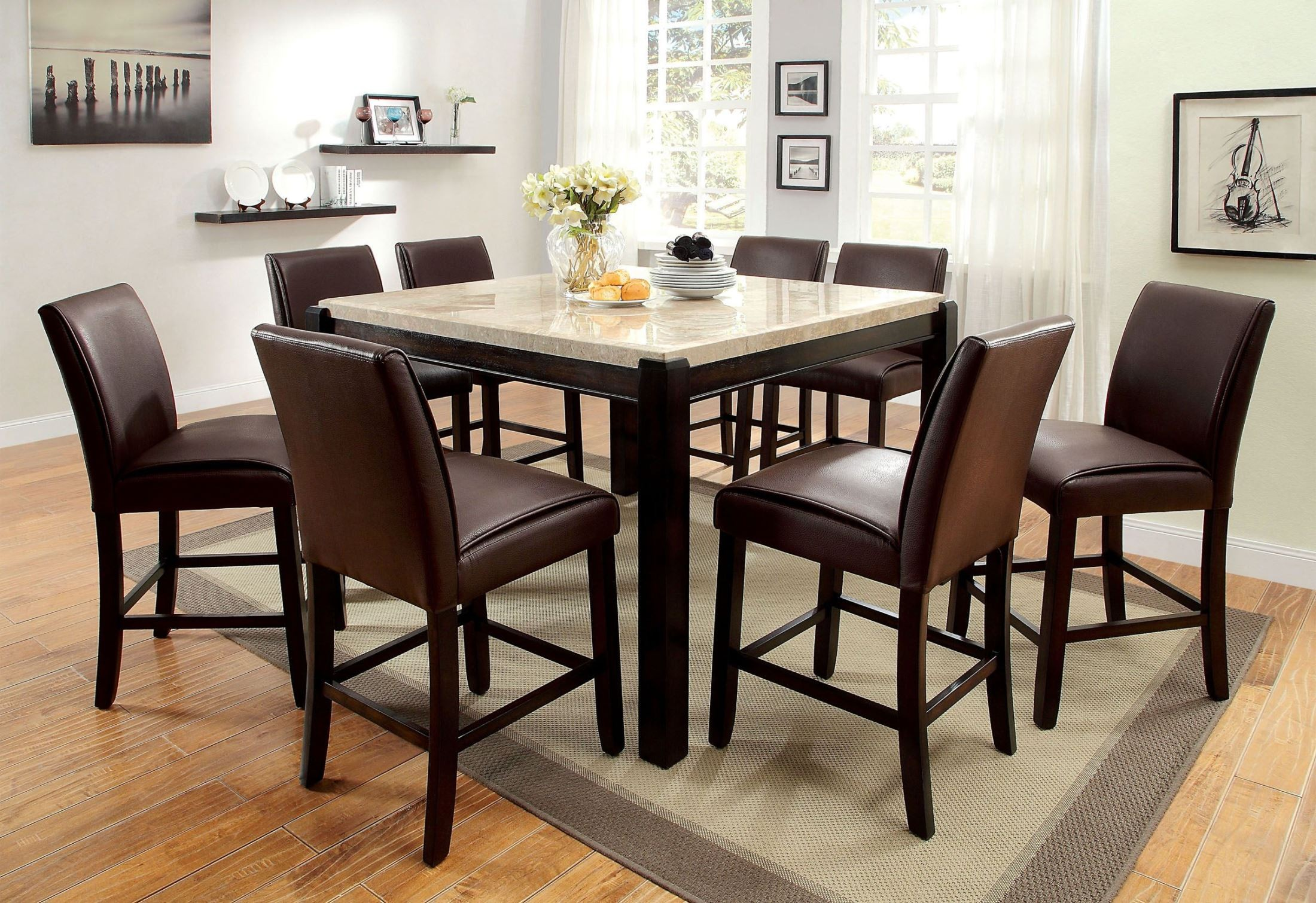 gladstone ii marble top counter height dining room set