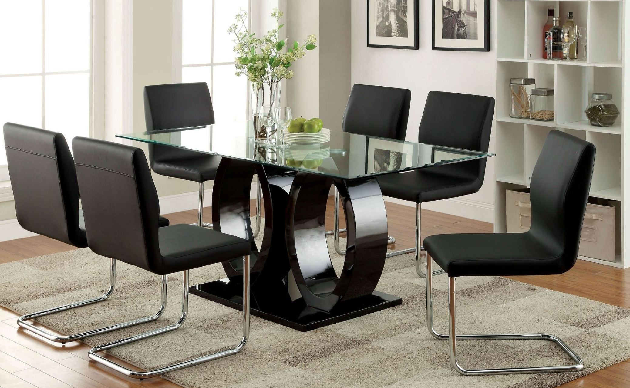 Lodia i black glass top rectangular pedestal dining room for Black dining room set