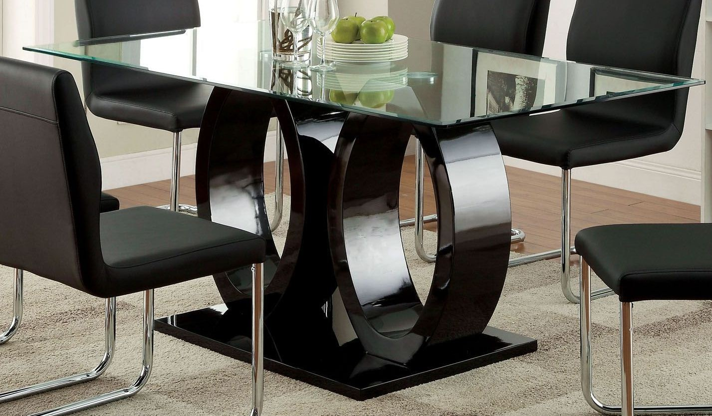 Lodia I Black Glass Top Rectangular Pedestal Dining Room Set From