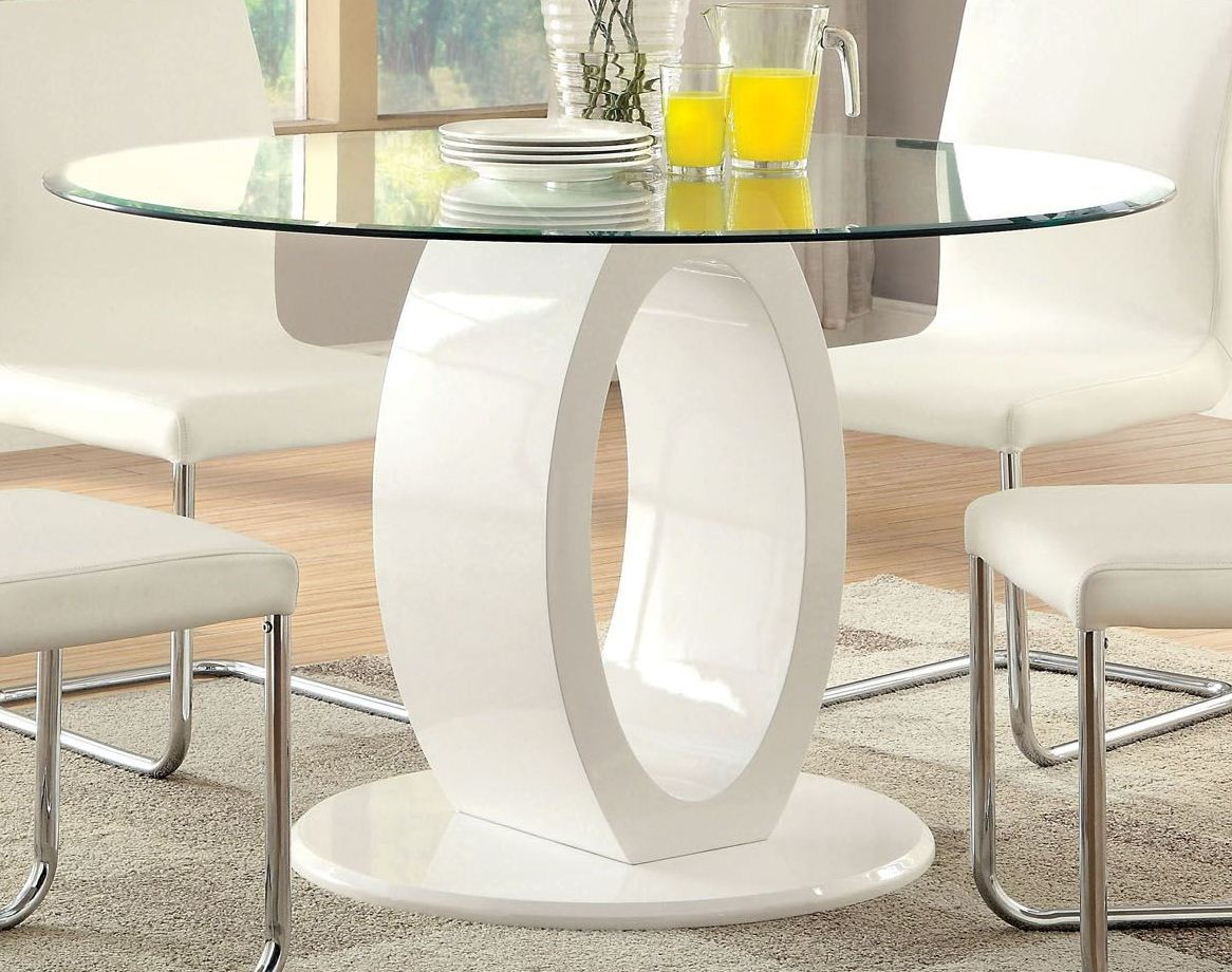 Lodia I White Glass Top Round Pedestal Dining Room Set From Furniture