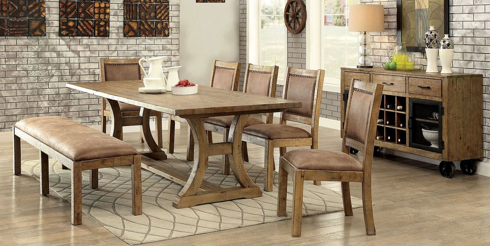 Gianna rustic pine extendable rectangular dining room set for Rustic dining room sets