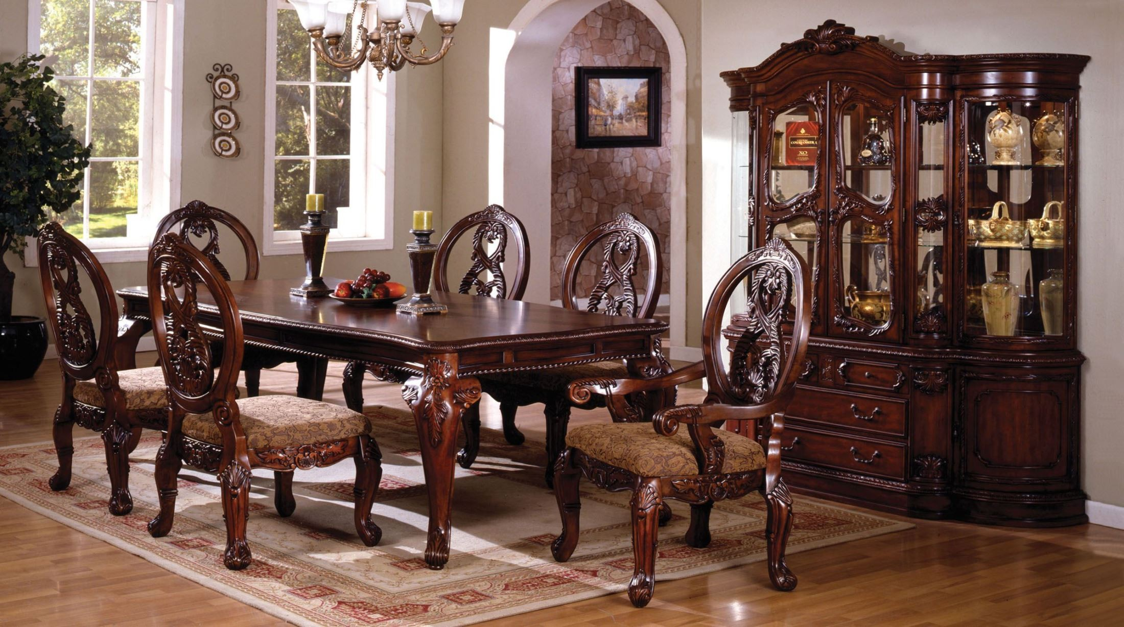Tuscany ii antique cherry rectangular leg dining room set for Cherry dining room set