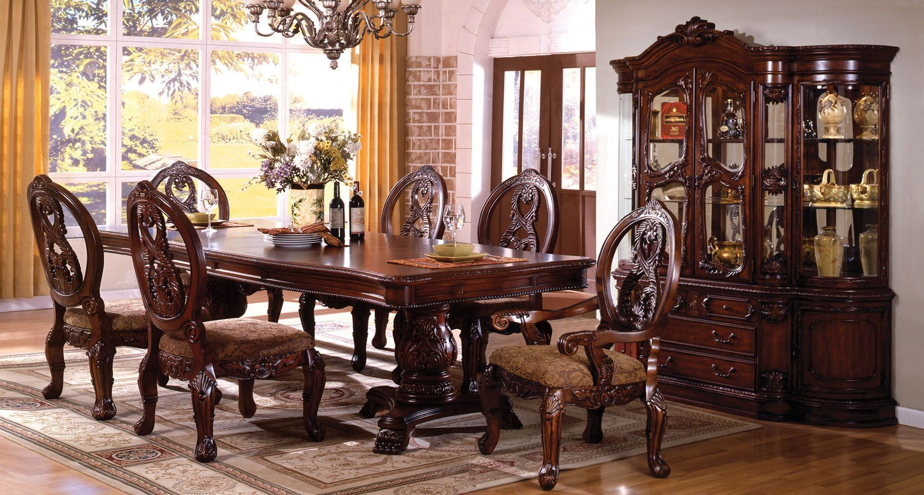 Tuscany Ii Antique Cherry Rectangle Extending Dbl Pedestal Dining Set From Furniture Of America