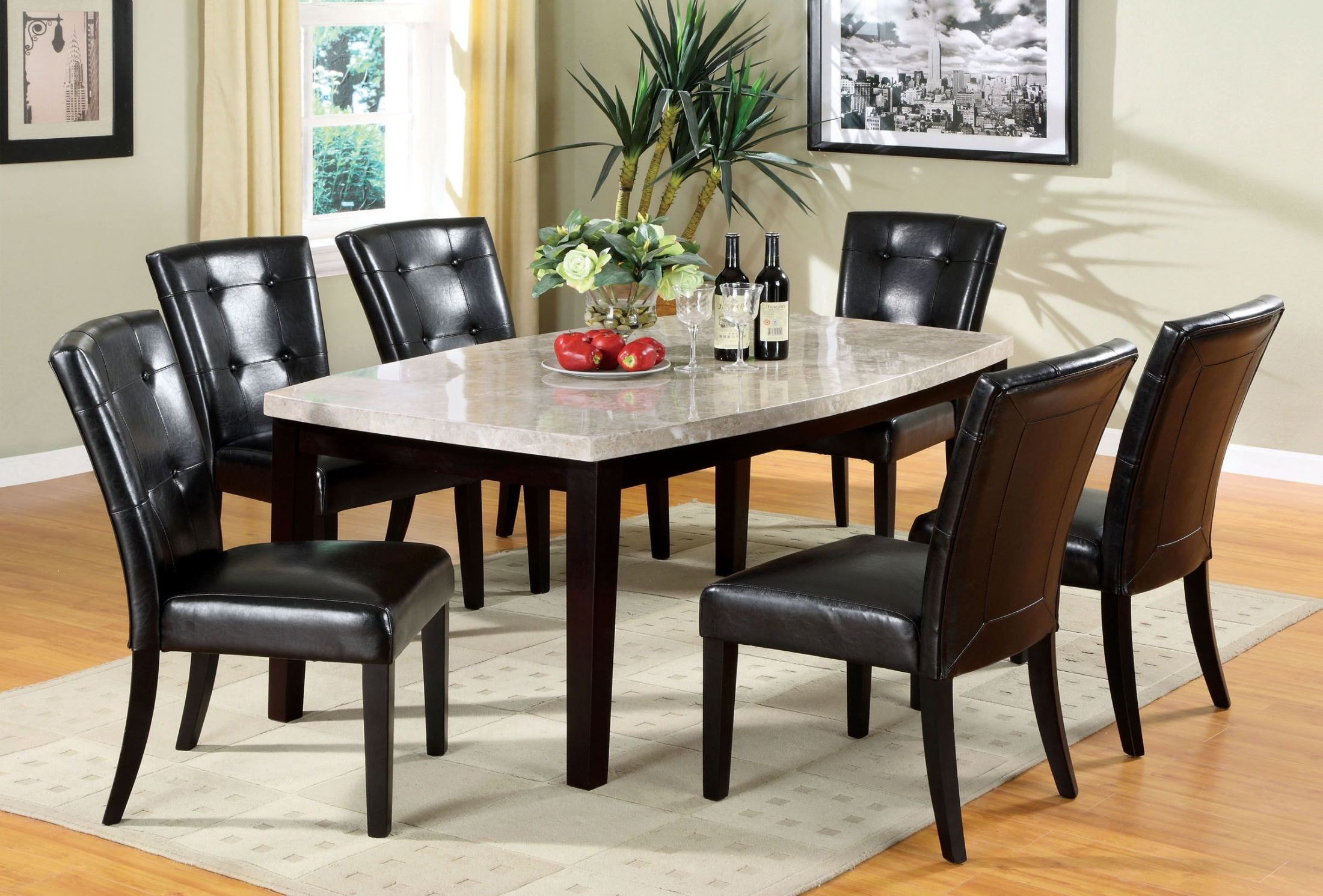 marion i marble top oval edge dining room set