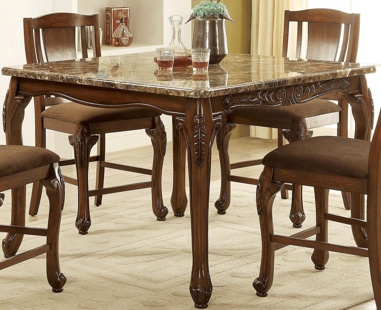 johannesburg brown cherry counter height dining table cm3873pt furniture of america. Black Bedroom Furniture Sets. Home Design Ideas