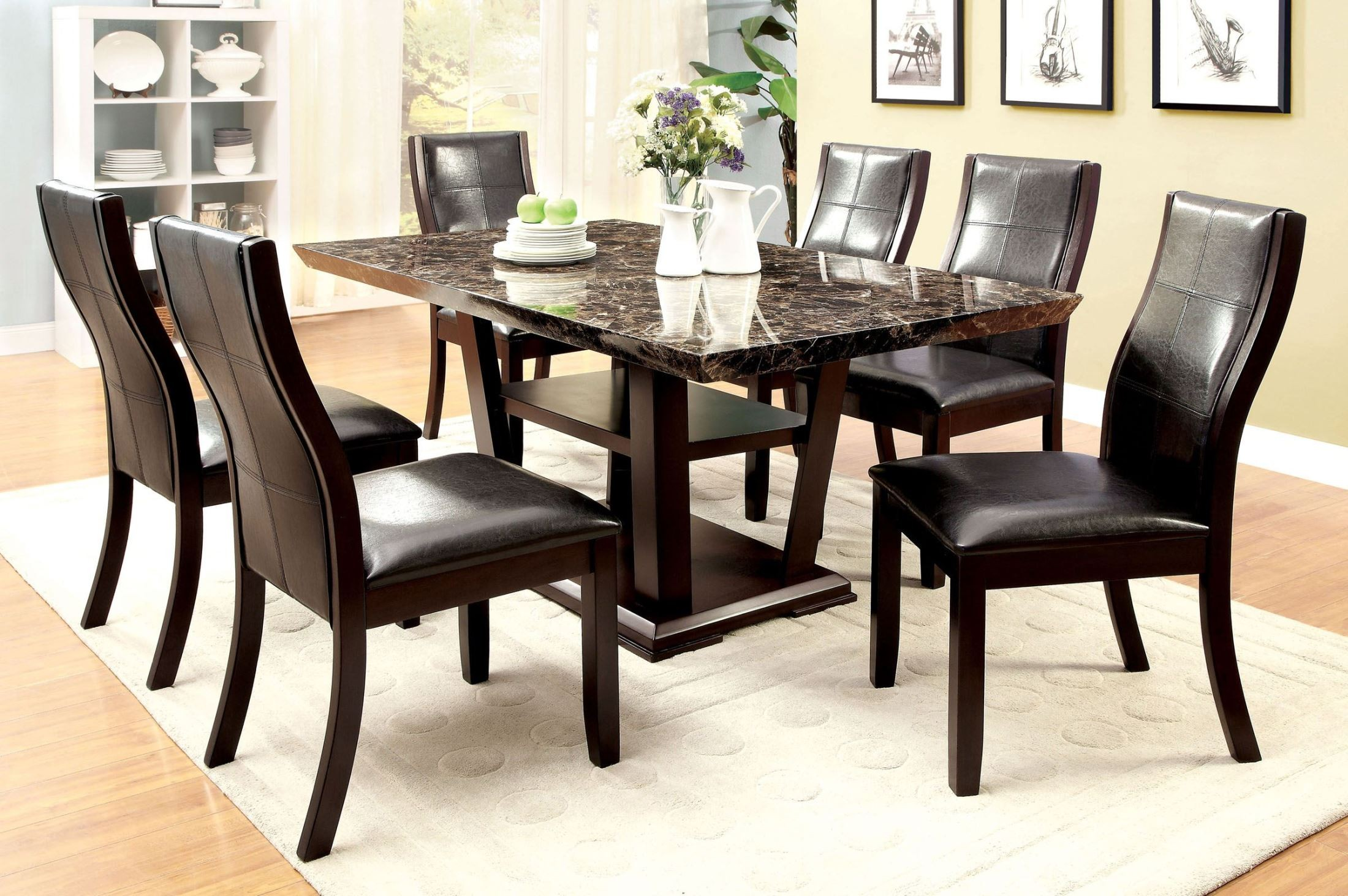 Clayton i dark cherry rectangular pedestal dining room set for Cherry dining room set
