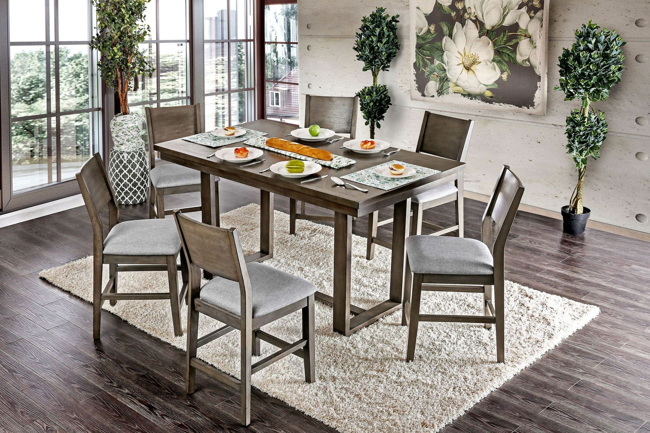 anton ii gray counter height dining room set cm3986pt