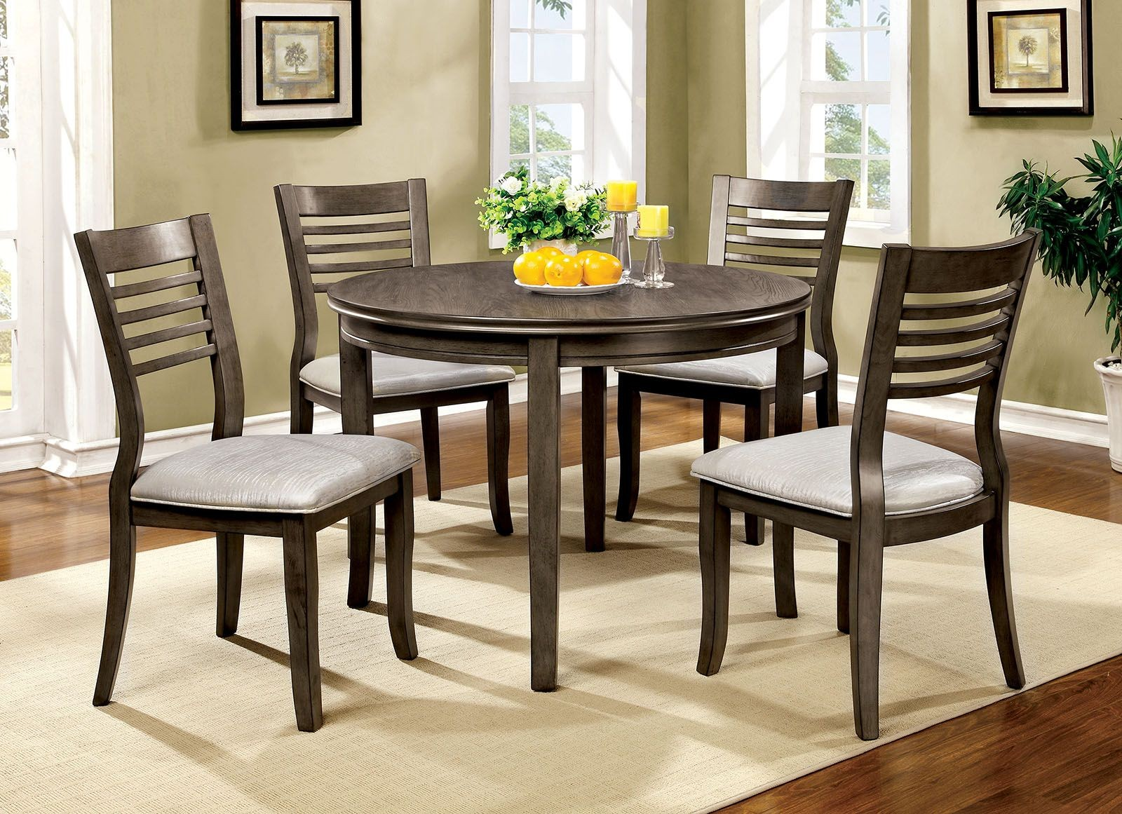 dwight iii gray 48 round dining room set cm3988gy rt 48