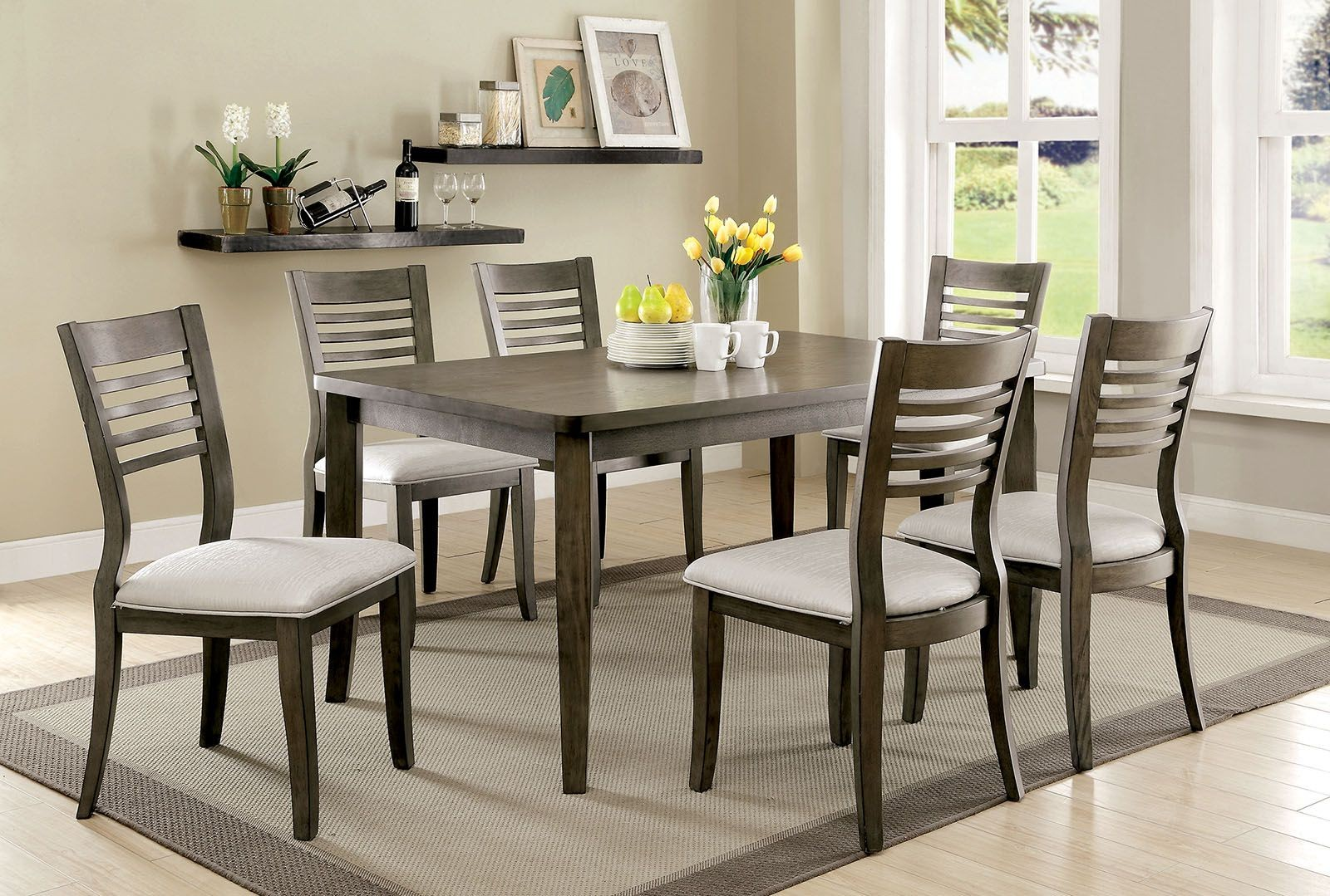 dwight iii gray rectangular dining room set cm3988gy t
