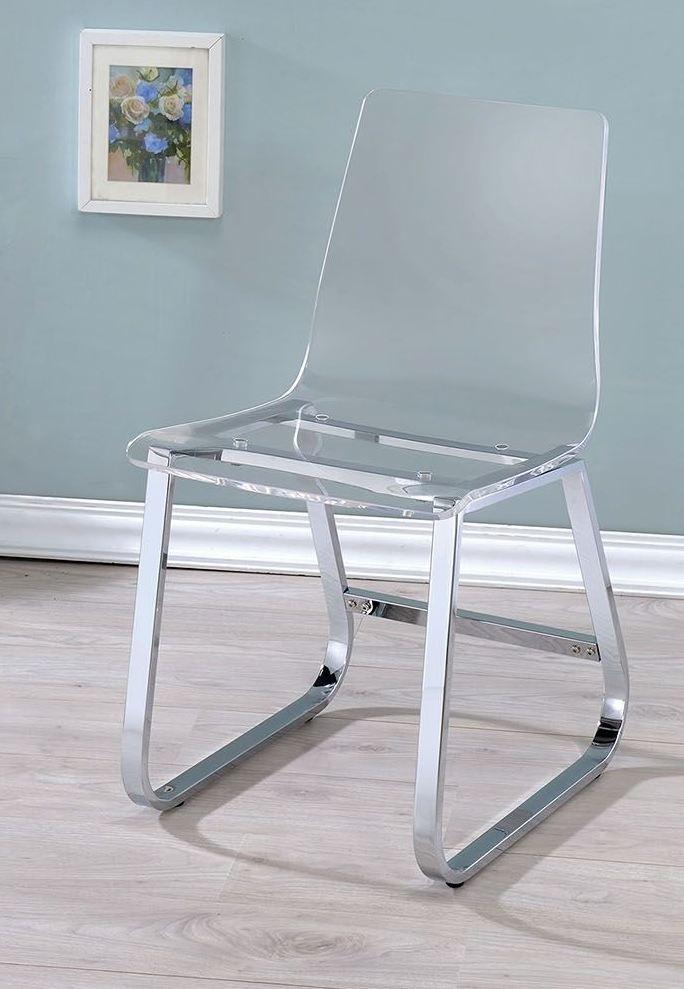 yvetti chrome round dining room set cm3991t furniture of