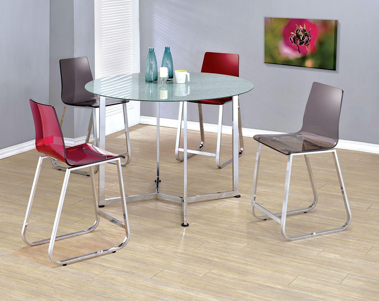 yvetti chrome round counter height dining room set