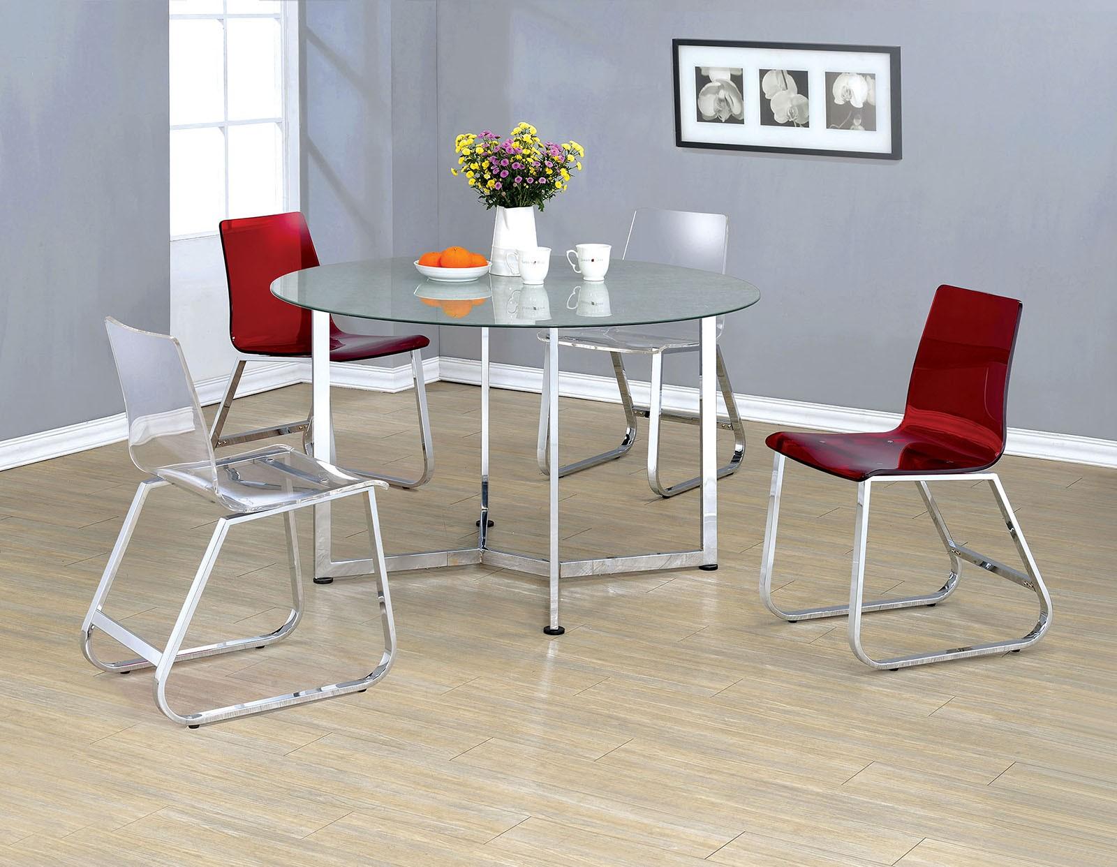 yvetti chrome round dining room set cm3991t furniture of america