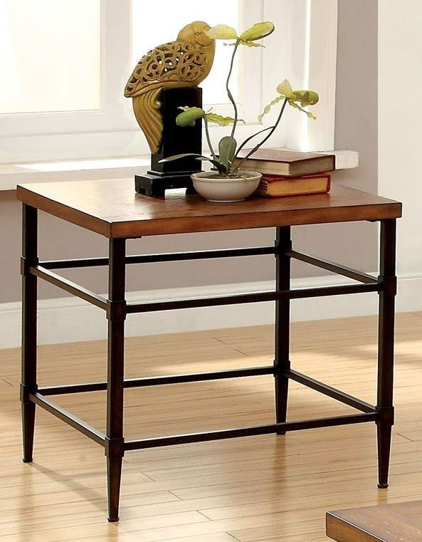 herrick light oak end table from furniture of america cm4221e coleman furniture. Black Bedroom Furniture Sets. Home Design Ideas