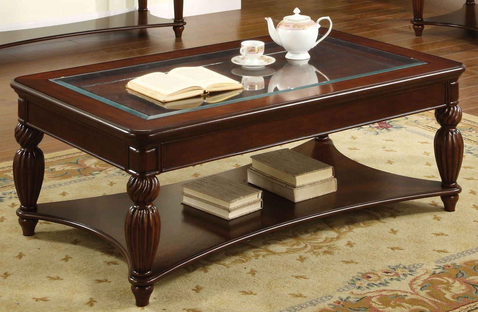 Windsor Glass Insert Coffee Table From Furniture Of America Cm4390c Coleman Furniture