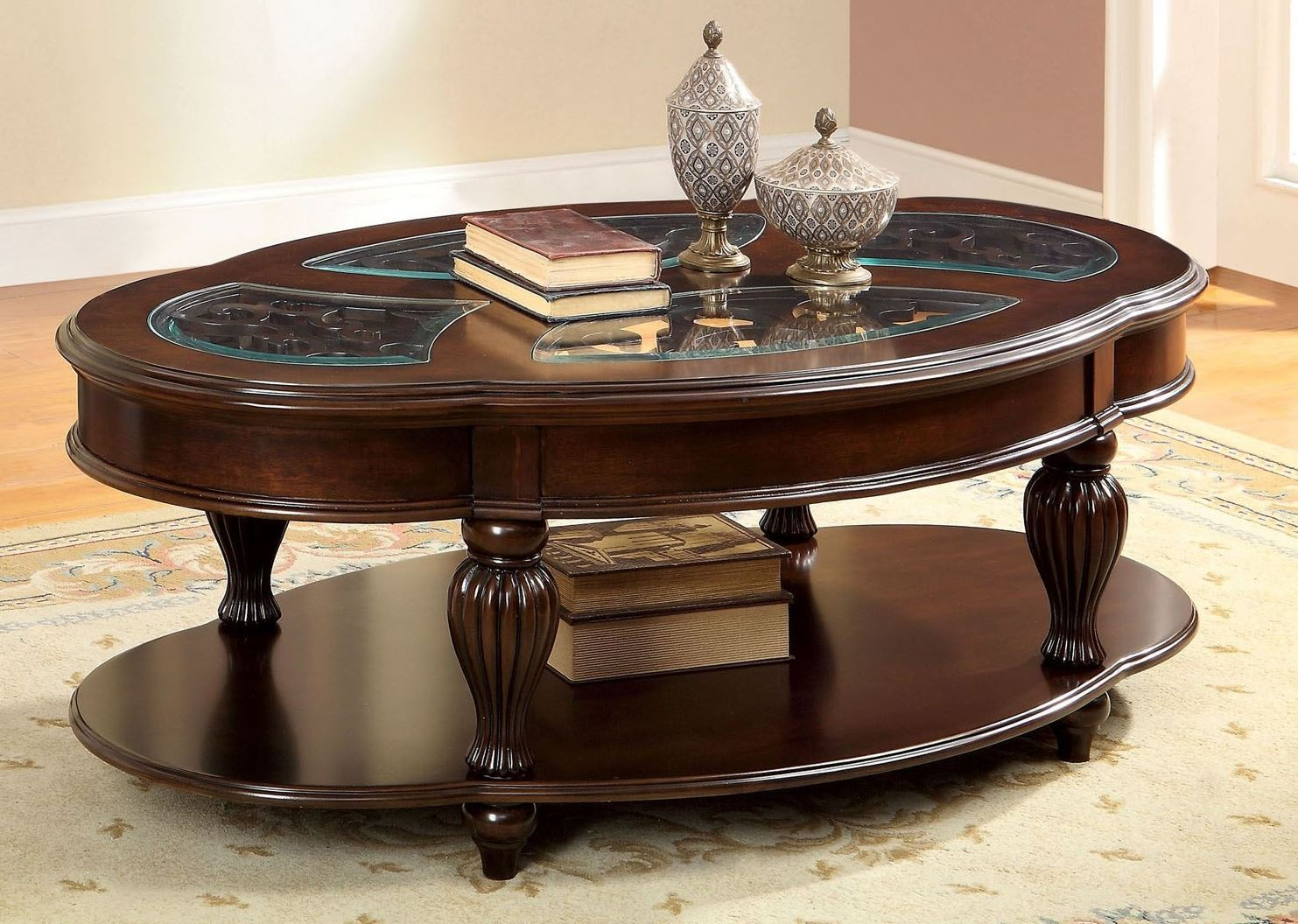 Centinel dark cherry coffee table from furniture of america cm4642c coleman furniture Coffee table cherry