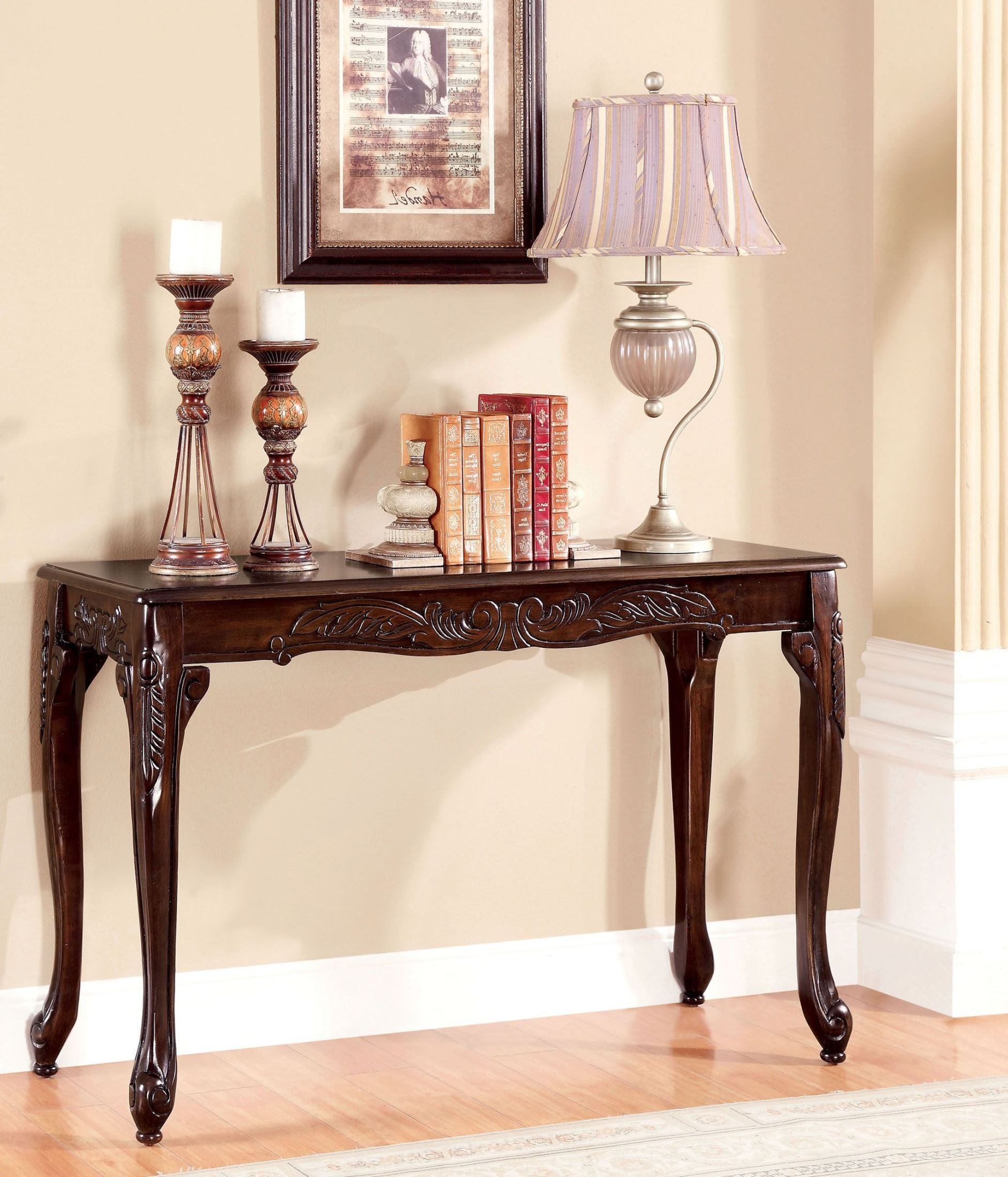 Cheshire cherry sofa table from furniture of america for Sofa table cherry
