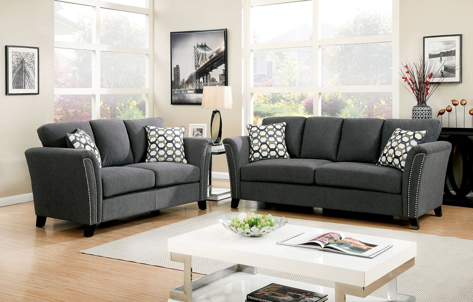 campbell gray living room set cm6095gy sf furniture of america