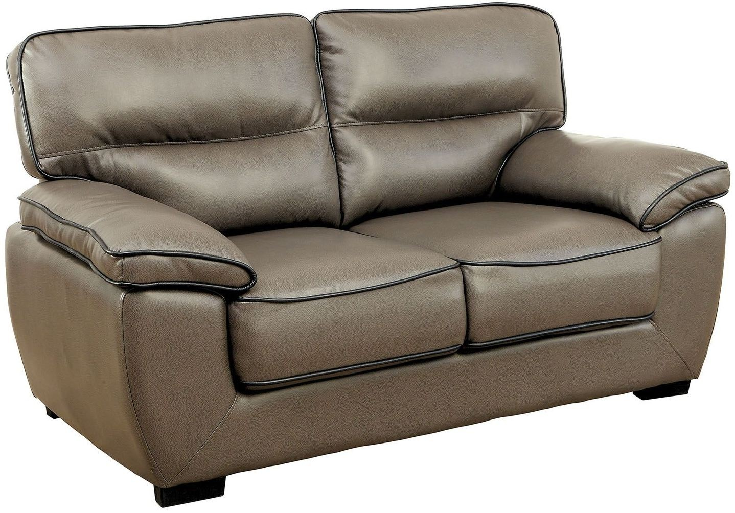Lennox Gray Shined Faux Leather Loveseat Cm6126 L Furniture Of America