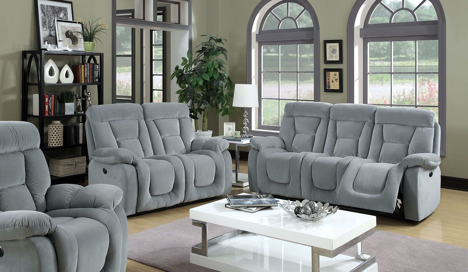 Bloomington Gray Reclining Living Room Set Cm6129gy Sf Furniture Of America