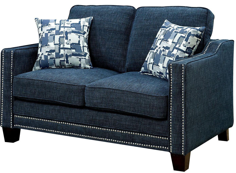 Kerian Blue Chenille Loveseat Cm6157bl Lv Furniture Of America