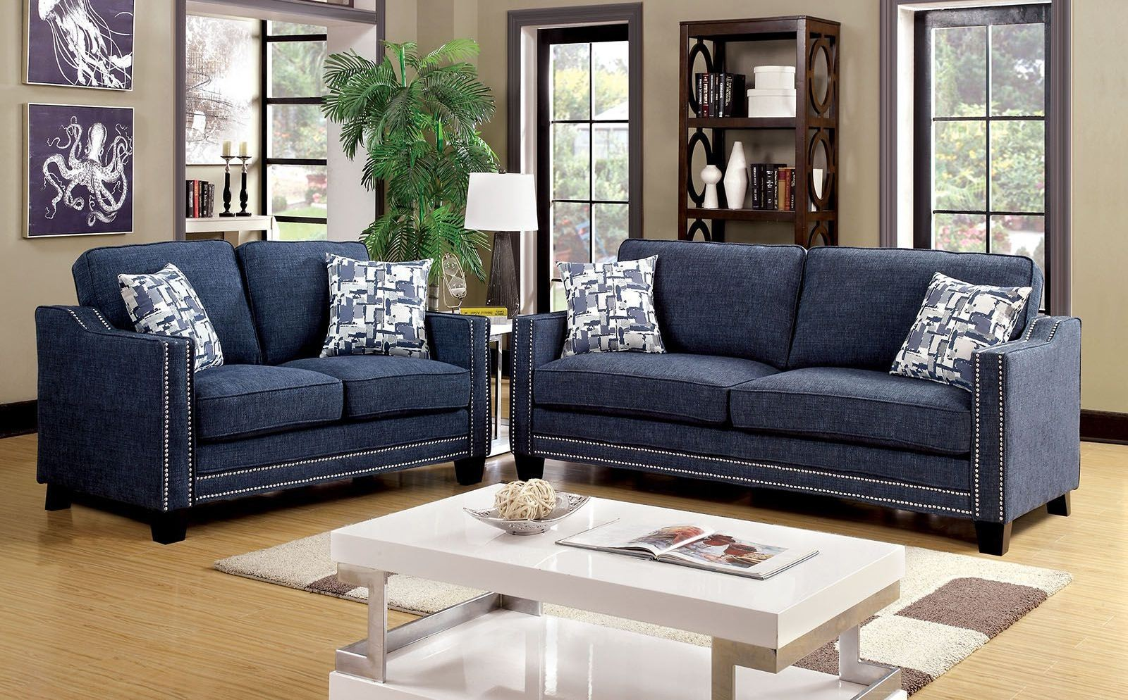 blue chenille living room set cm6157bl sf furniture of america