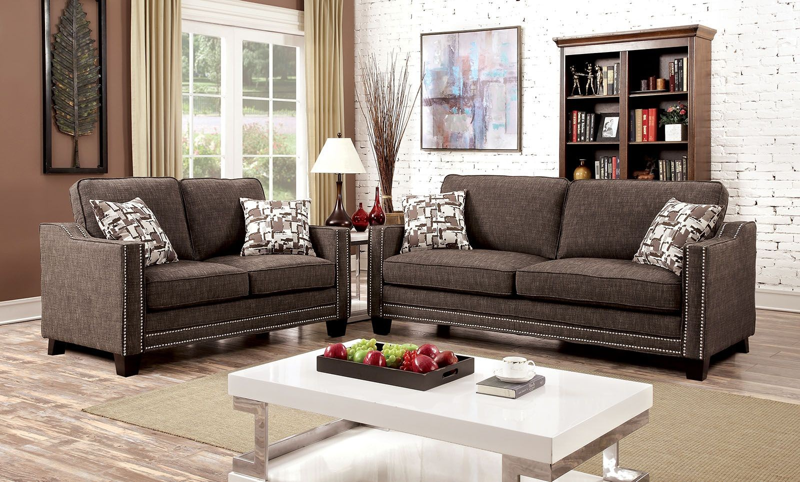 brown chenille living room set cm6157br sf furniture of america