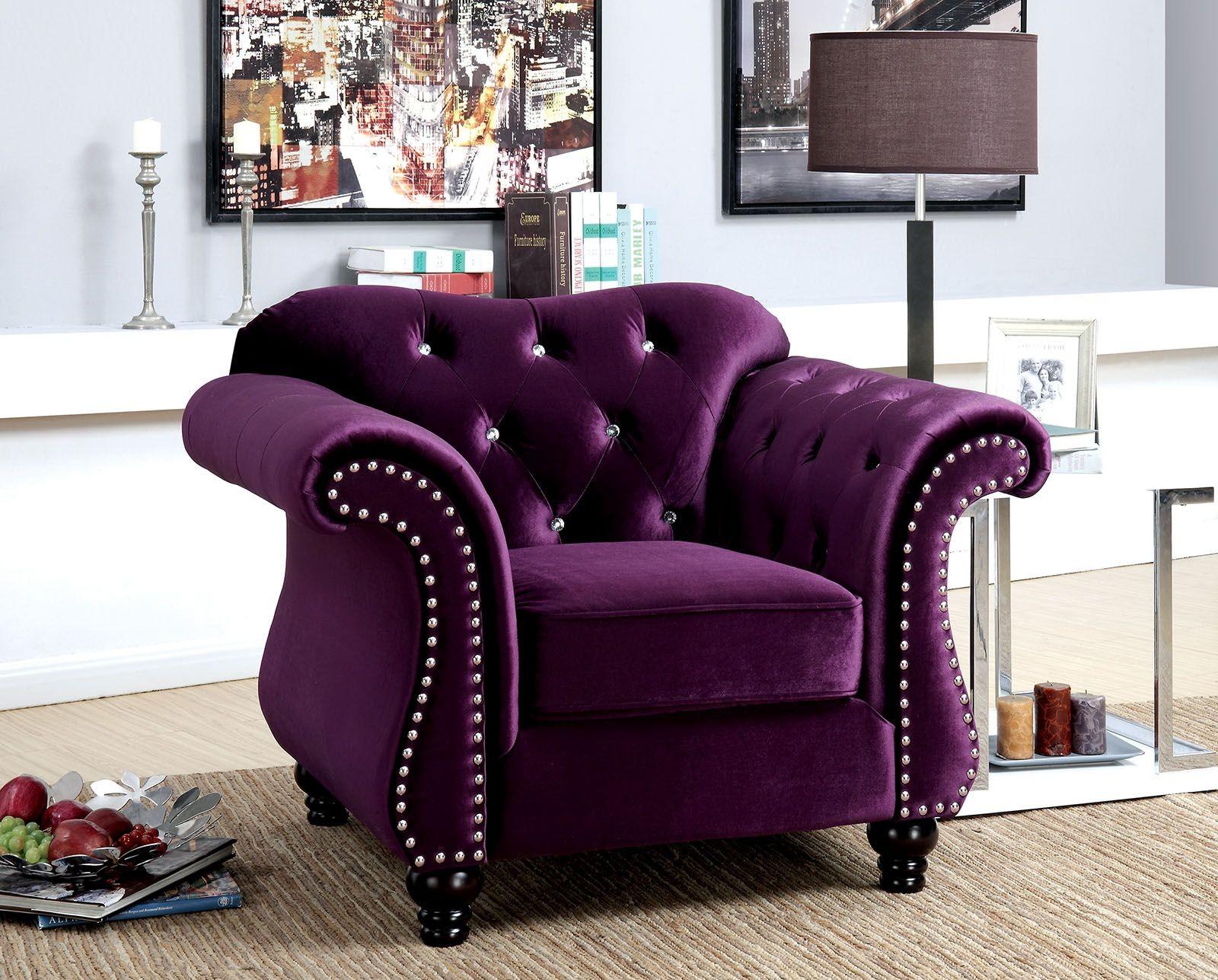Jolanda Purple Flannelette Fabric Living Room Set Cm6159pr Sf Furniture Of America