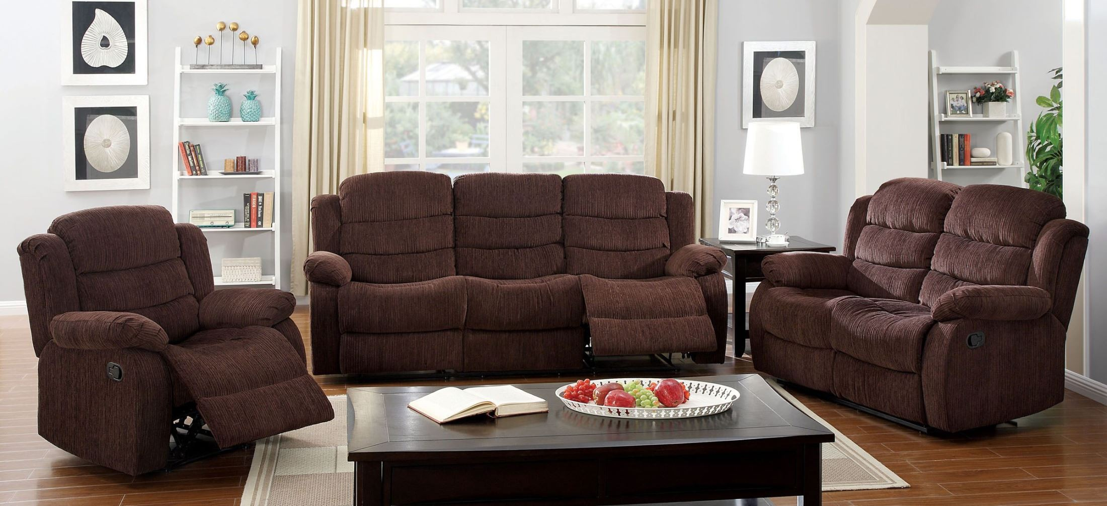 Millville dark brown chenille reclining living room set for Dark brown living room set