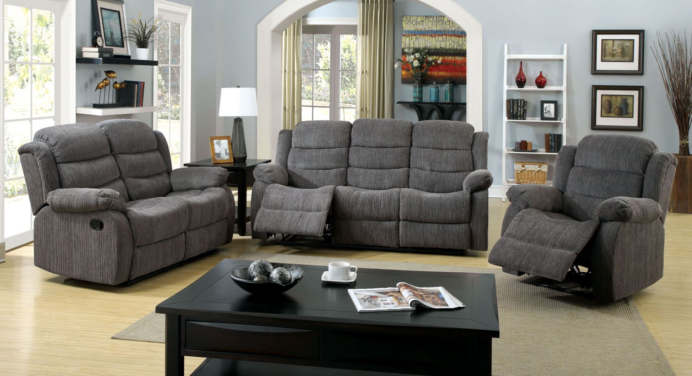 Millville gray chenille reclining living room set from for Cheap reclining living room sets