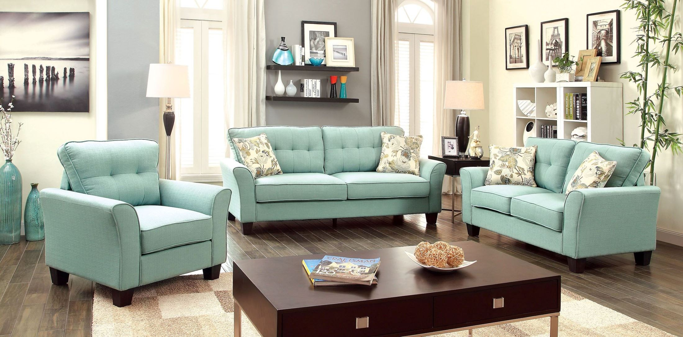 claire blue fabric living room set from furniture of america cm6266bl
