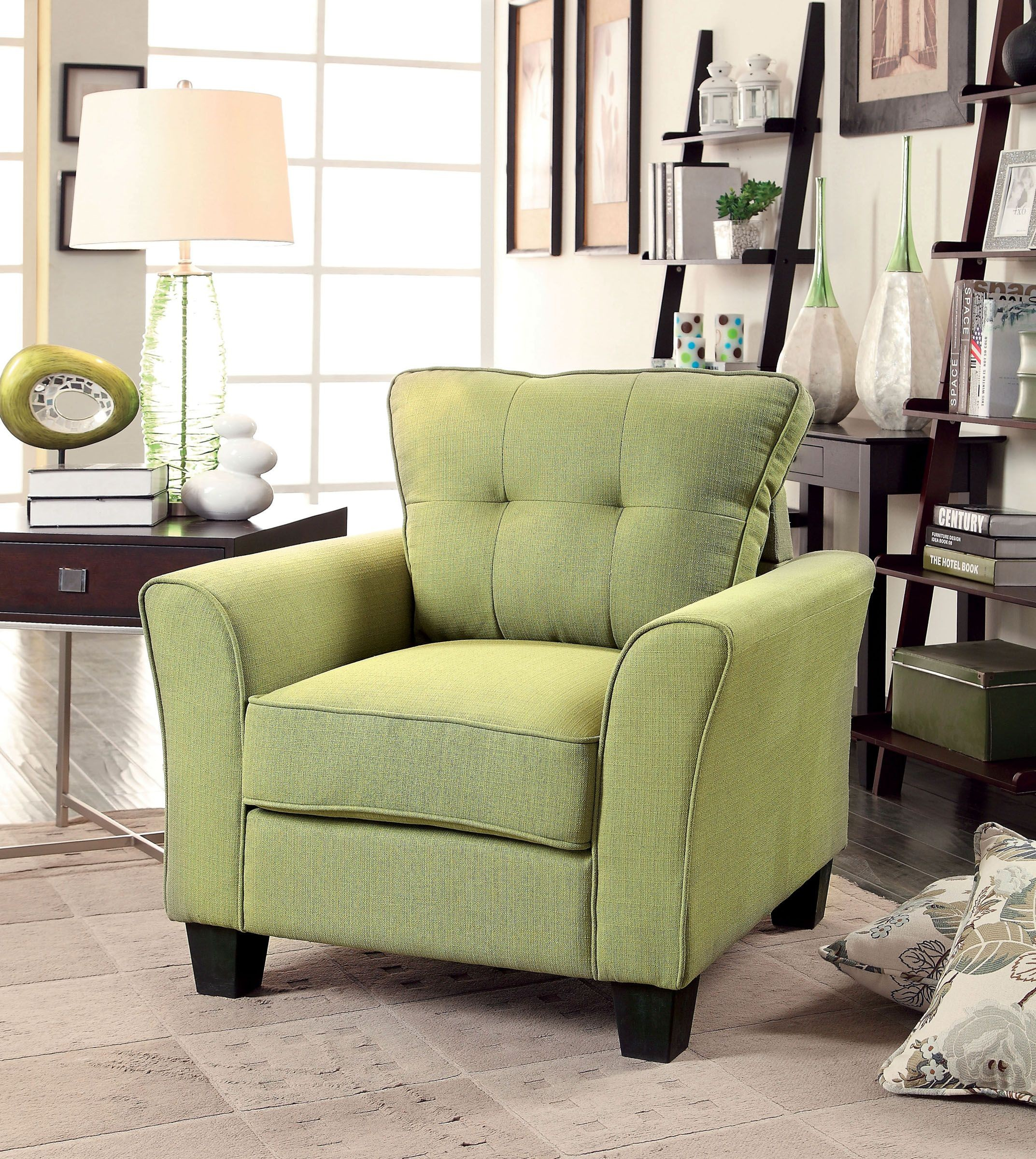 claire green fabric living room set from furniture of america