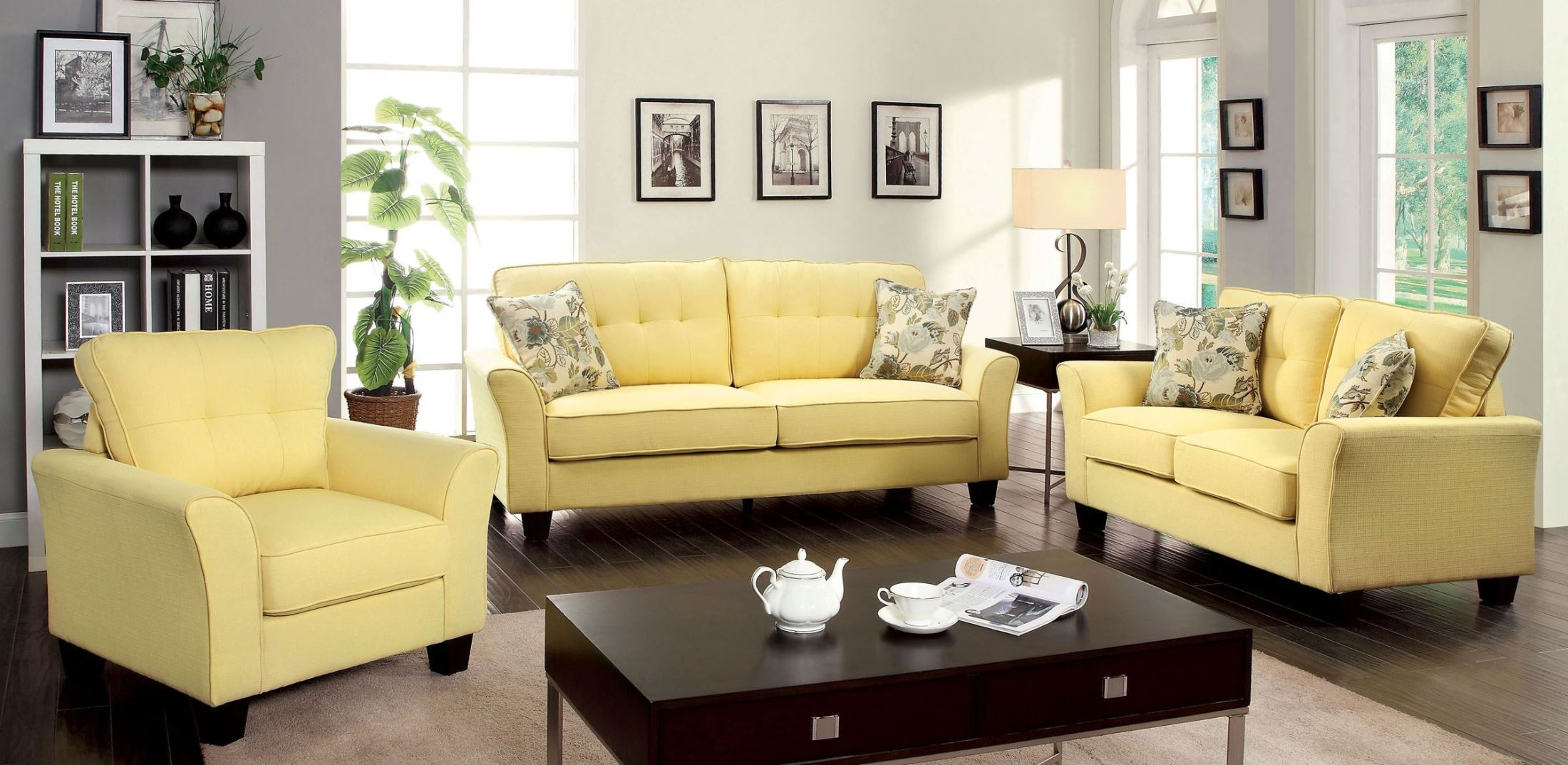 Claire yellow fabric living room set from furniture of america