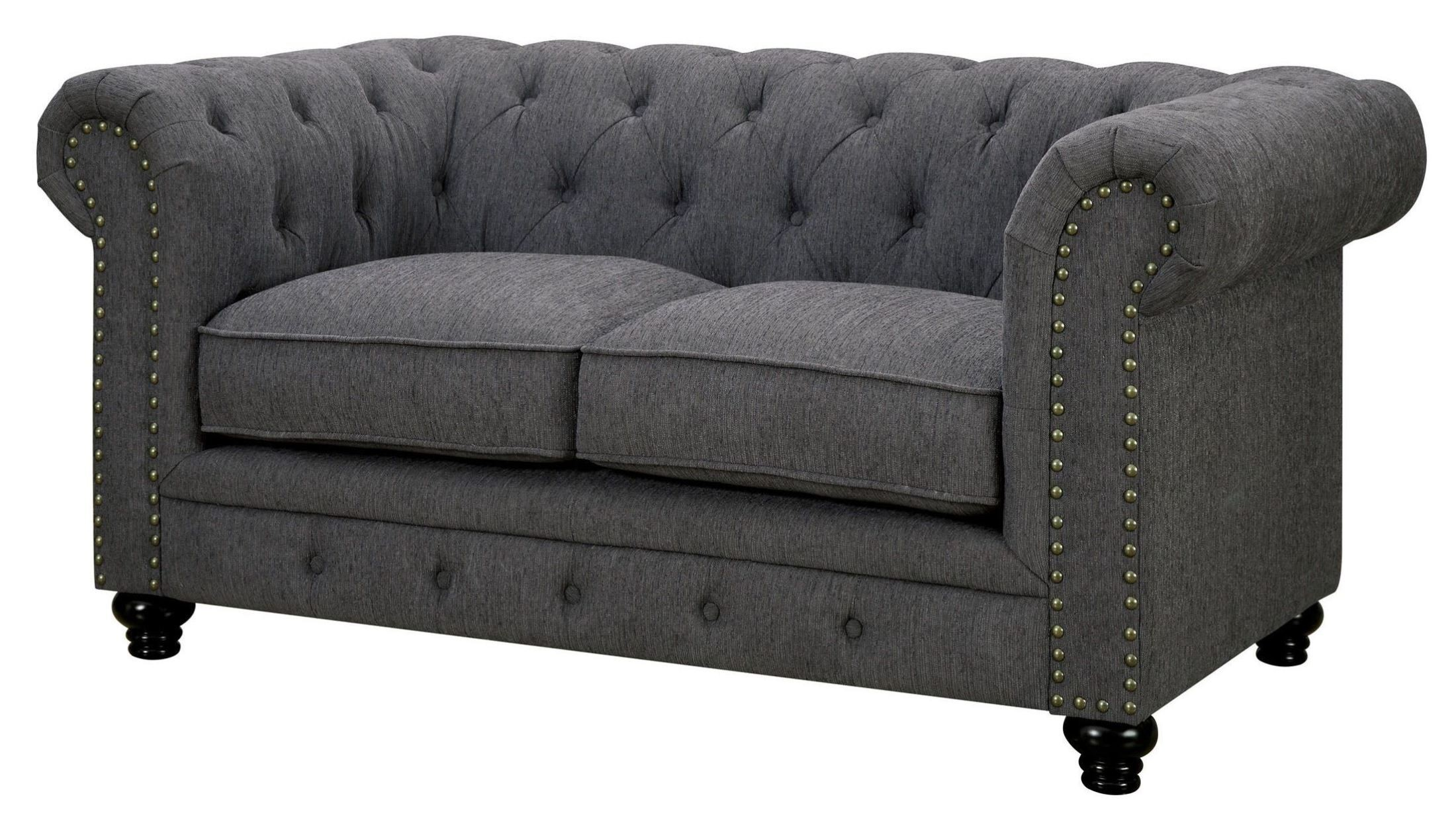 stanford gray fabric loveseat from furniture of america cm6269gy lv