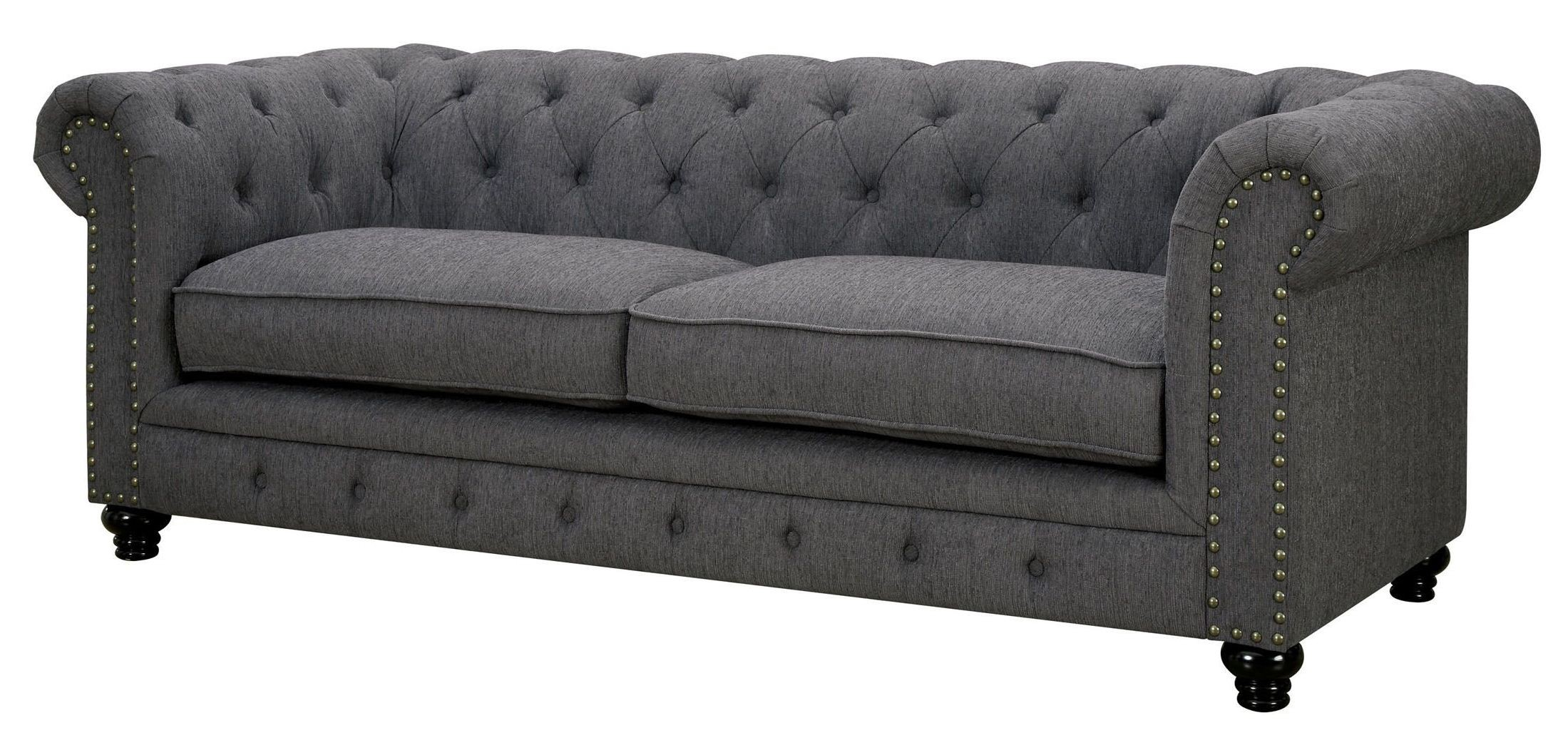 stanford gray fabric sofa from furniture of america cm6269gy sf