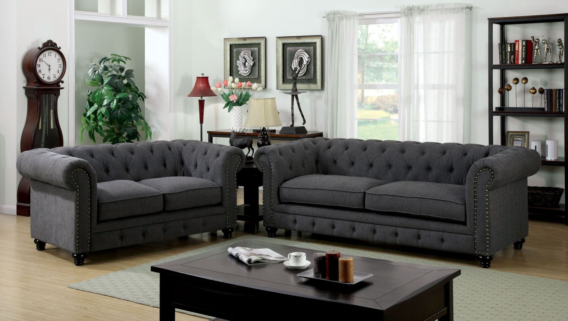 stanford gray fabric living room set from furniture of america