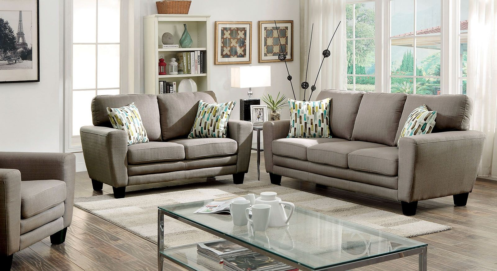 saffron gray living room set cm6286gy sf furniture of america
