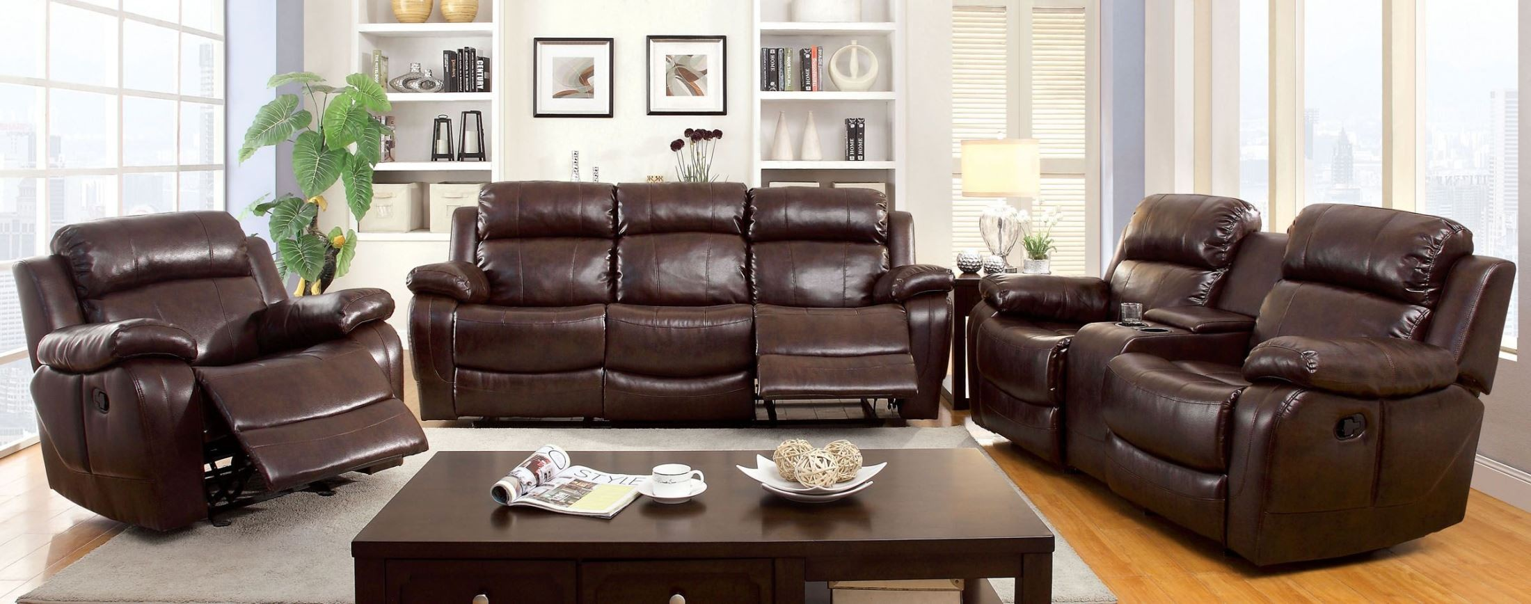 Hughes dark brown dropdown table reclining living room set for Dark brown living room set