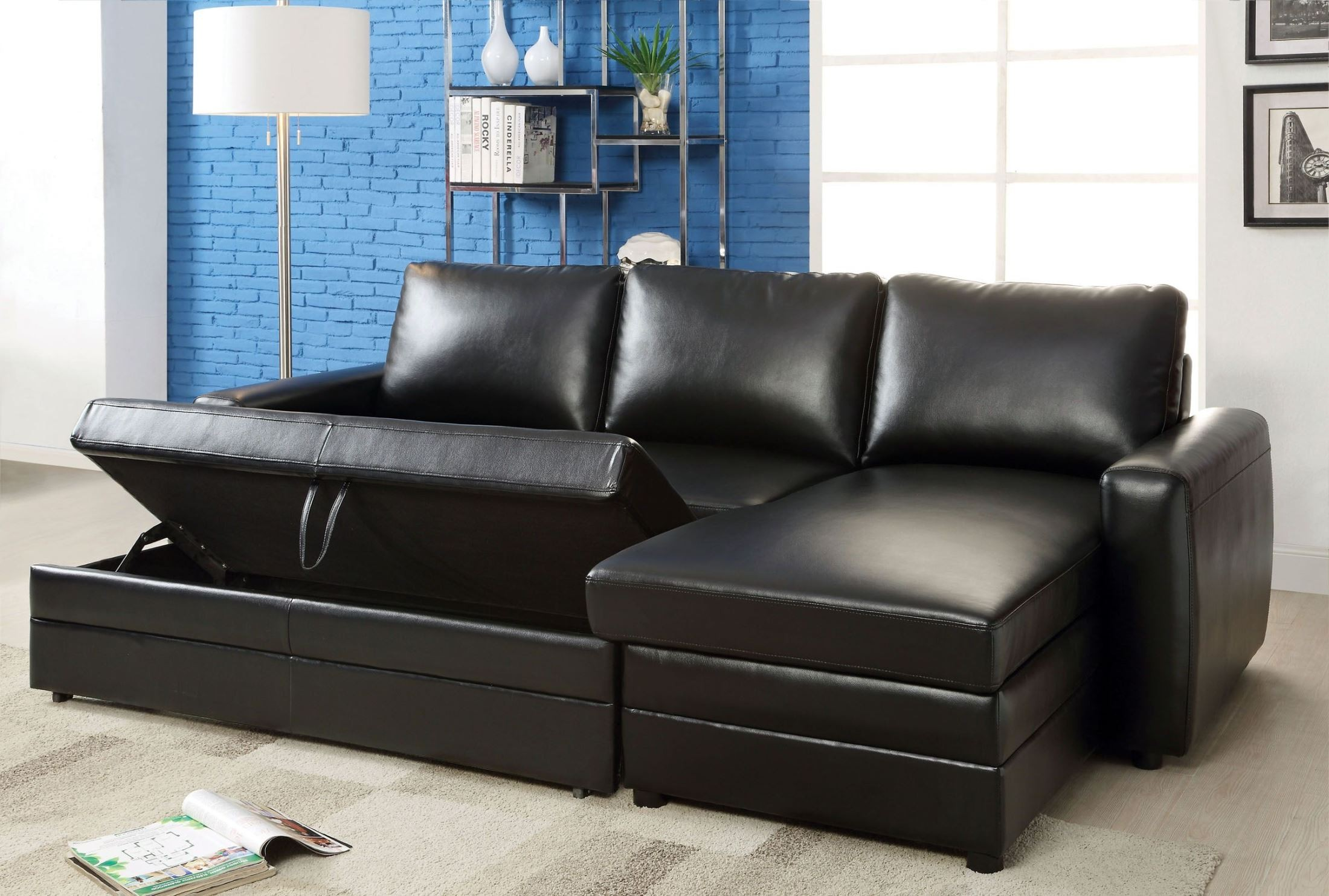 Salem black bonded leather match sectional from furniture for Black sectional sofa with chaise