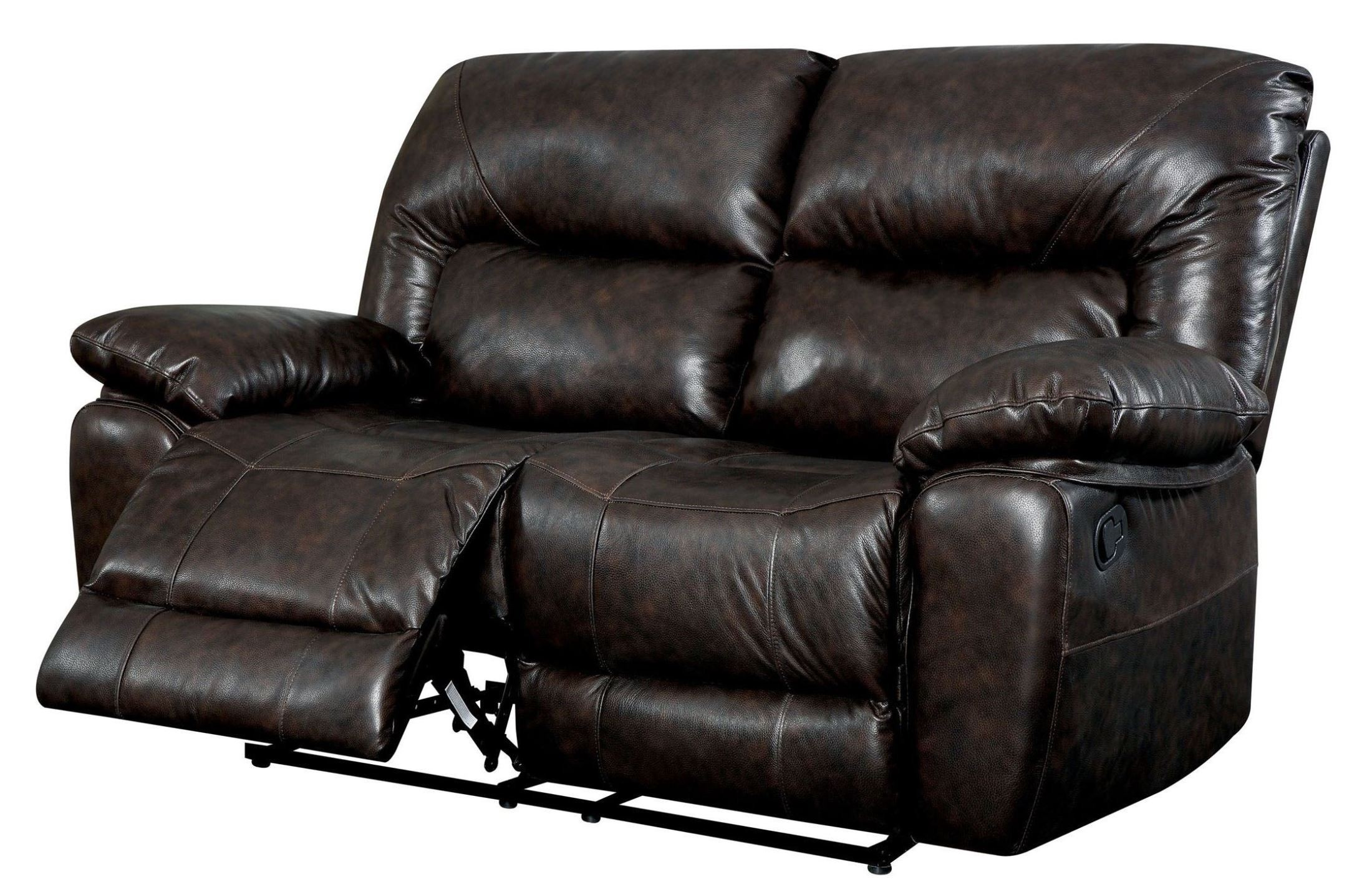 Stallion Top Grain Leather Match Reclining Loveseat From Furniture Of America Cm6319 Lv