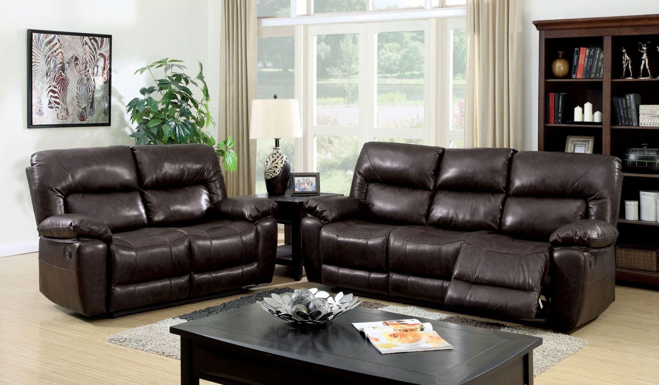 Stallion top grain leather match reclining living room set for Matching living room chairs