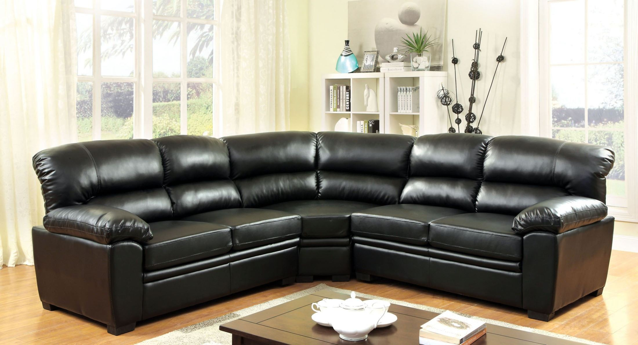 oliver black sectional from furniture of america cm6325bk. Black Bedroom Furniture Sets. Home Design Ideas
