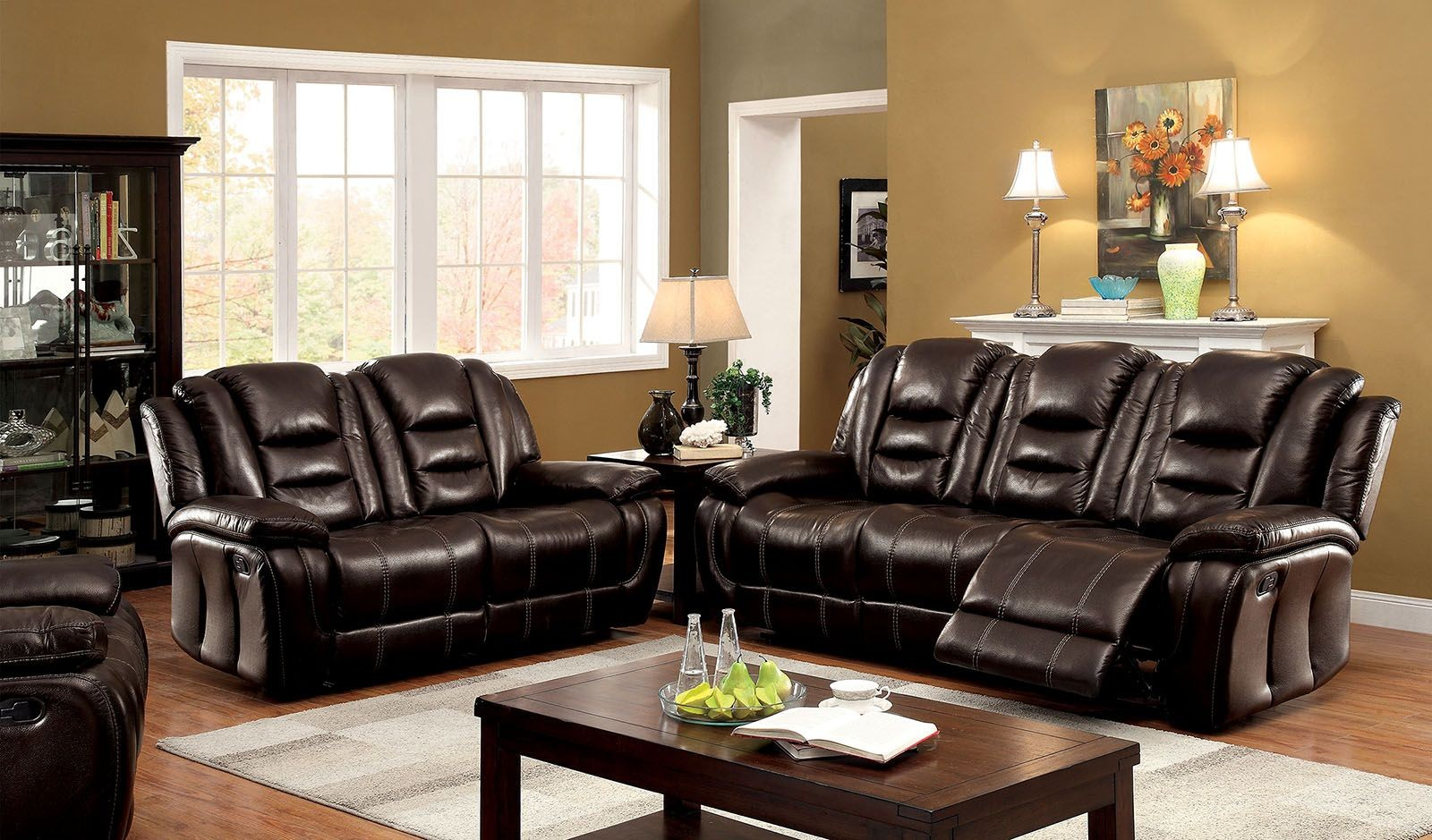 Ronan dark brown living room set cm6331 sf furniture of for Dark brown living room set