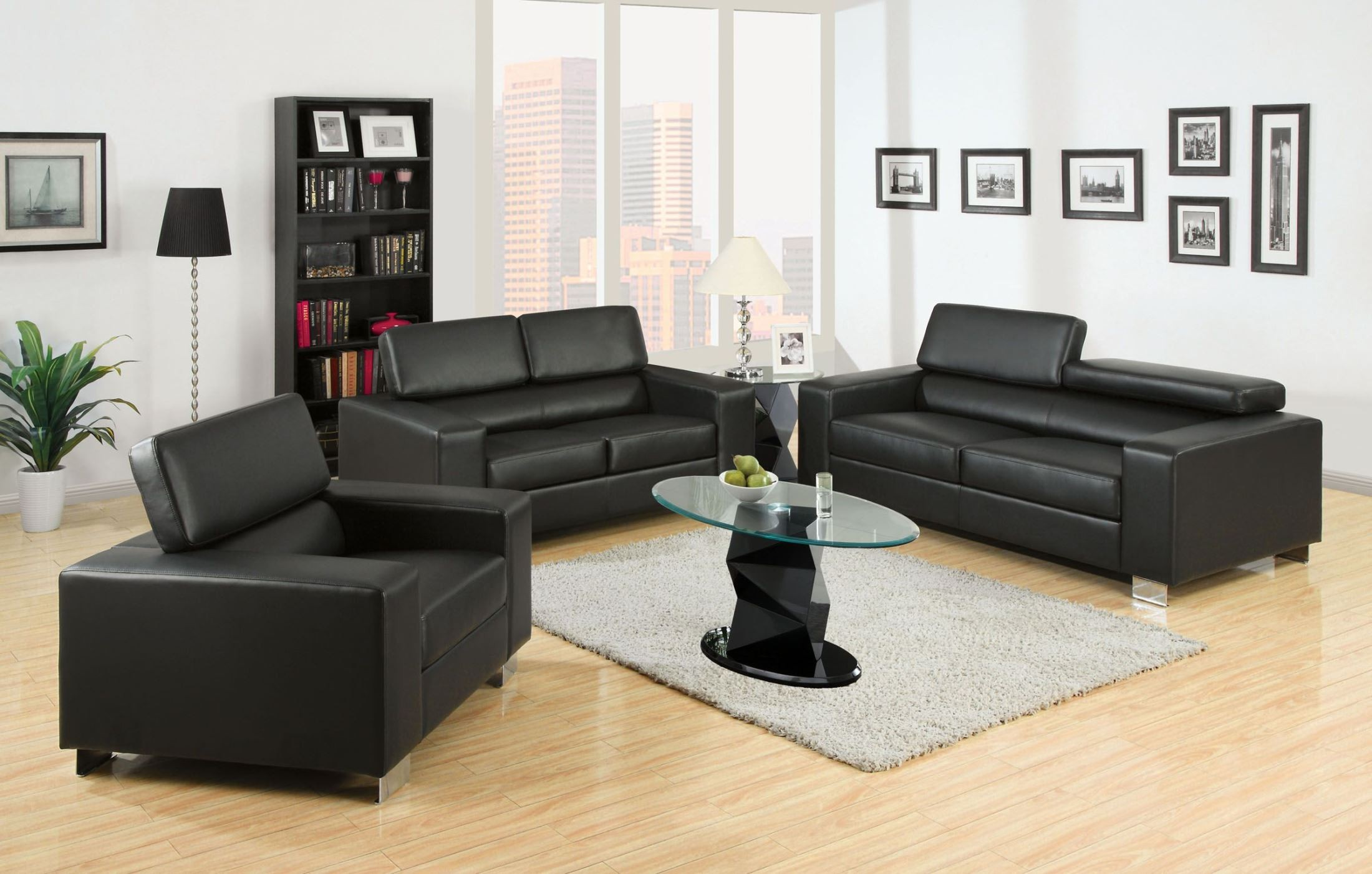 Makri black bonded leather match living room set cm6336bk for Matching living room furniture