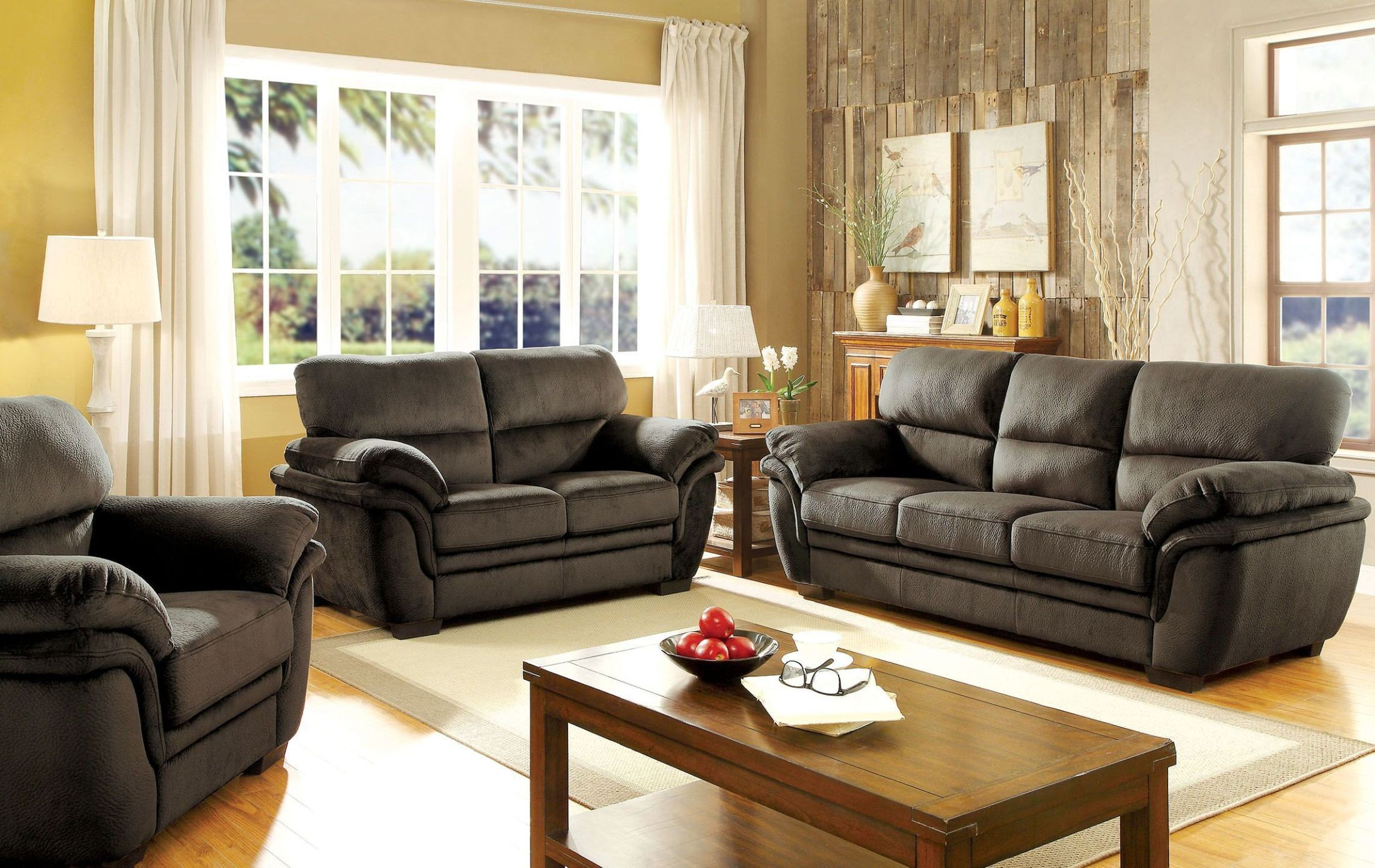 Jaya dark brown living room set cm6503db sf furniture of for Dark brown living room set