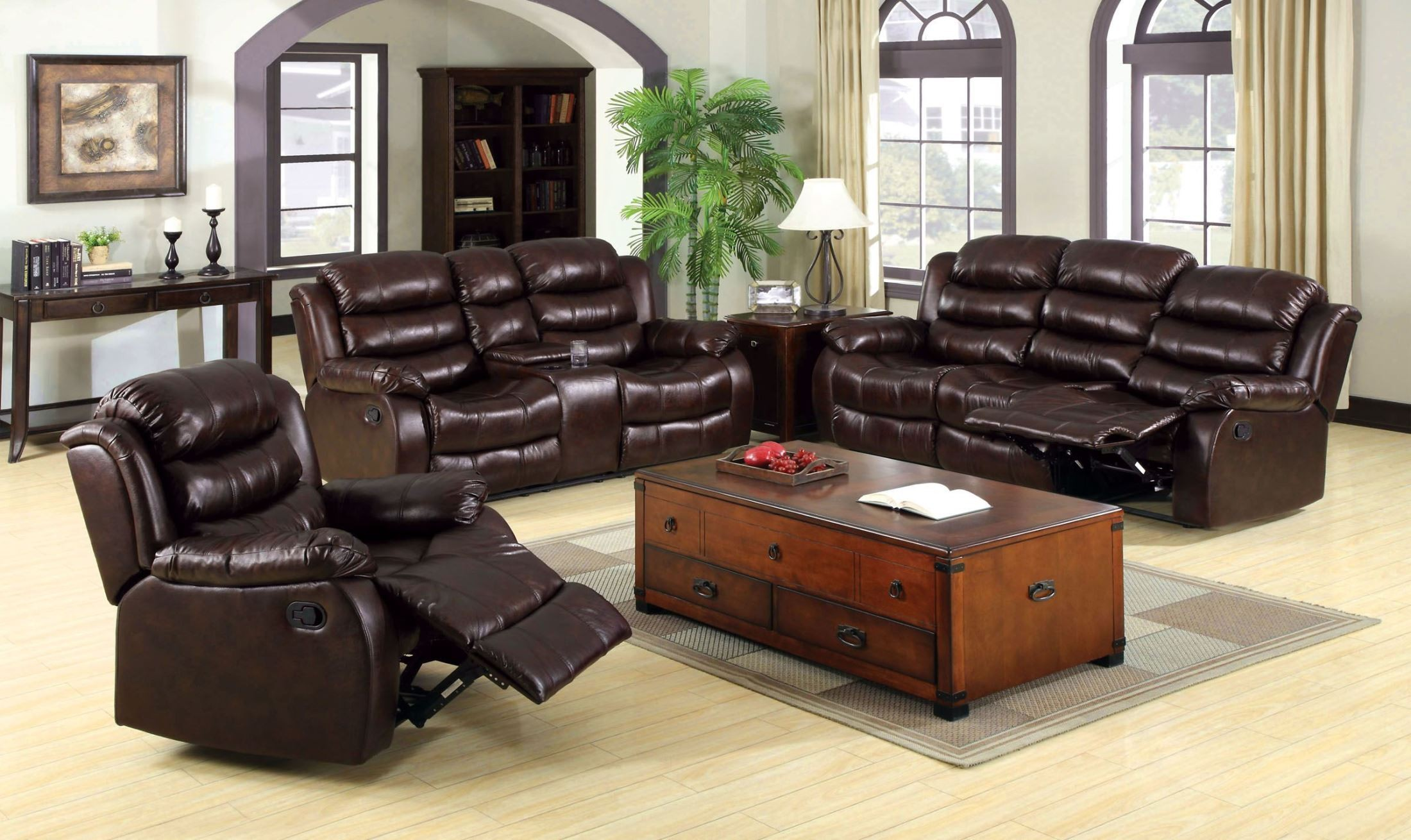 berkshire rustic brown reclining living room set cm6551 s furniture of america. Black Bedroom Furniture Sets. Home Design Ideas